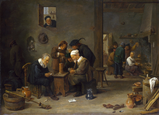 David Teniers the Younger. Two card players in the hotel kitchen