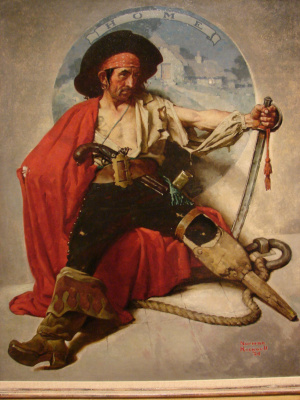 "Norman Rockwell. Pirate dreaming of home. Cover of ""The Saturday Evening Post"" (30 August 1924)"