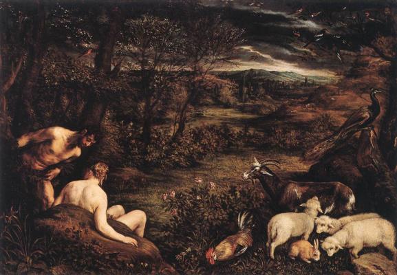 Jacopo da Ponte Bassano. The garden of Eden