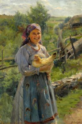 Федор Васильевич Сычков. Молодая крестьянка с курицей. 1920
