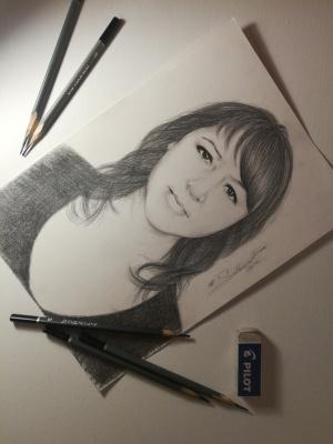 Татьянка Викторовна Соловьева. Портрет, написанный карандашом