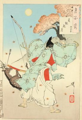 """Tsukioka Yoshitoshi. Minimoto-but Tsunetomo hunting. The series """"100 aspects of the moon"""""""