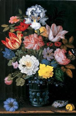Балтазар ван дер Аст. Натюрморт с цветами в вазе и раковинами