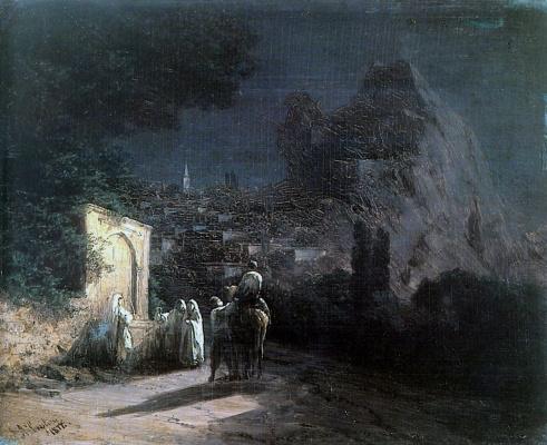 Ivan Aivazovsky. Moonlit night. At a spring.