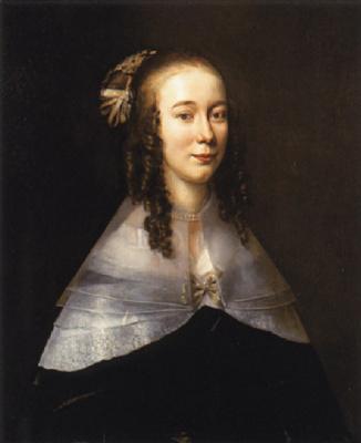 Ян Мейтенс. Портрет дамы в черном платье с белым воротничком