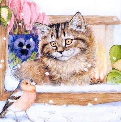 Дебби Кук. Кот и птица