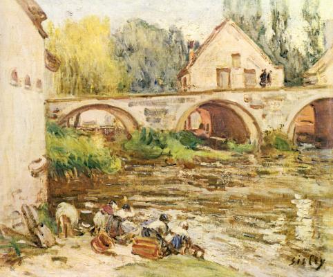 Alfred Sisley. Laundresses in Moret-sur-Loing