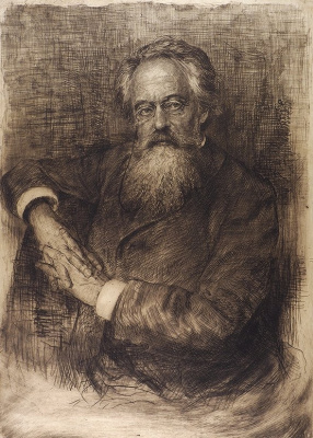 Vasily Vasilyevich Mate. Portrait of the essayist, literary critic, literary critic and translator N. To. Michael. 1890 Etching, drypoint. The author's trial print.
