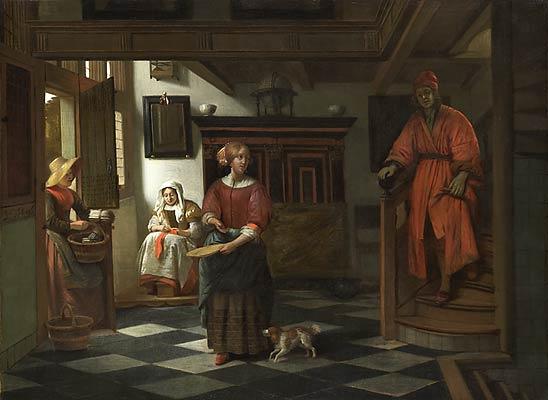 Pieter de Hooch. The saleswoman asparagus