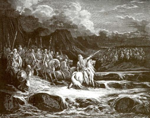 Поль Гюстав Доре. Иллюстрация к Библии: Иуда Маккавей преследует Тимофея