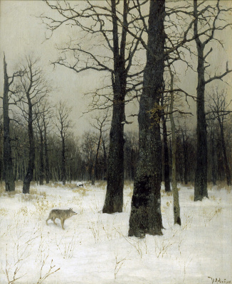 Isaac Levitan. Winter in the forest