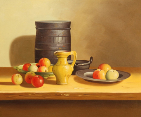 Savely Kamsky. Still life with apples and a yellow jug