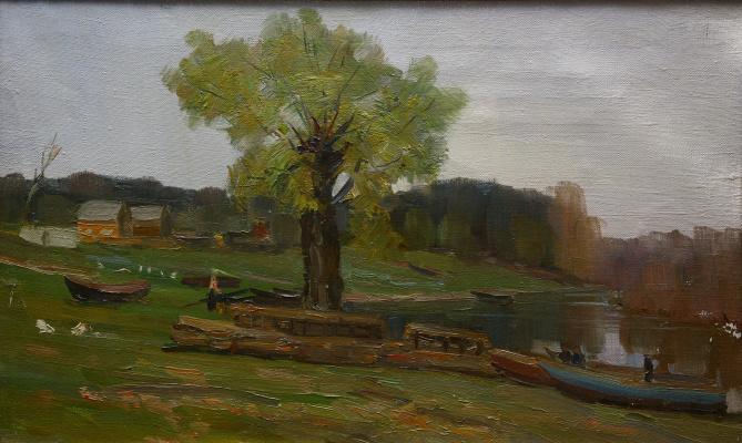 Boris Ivanovich Sinaleyov. Boats on the shore in Zhelnino