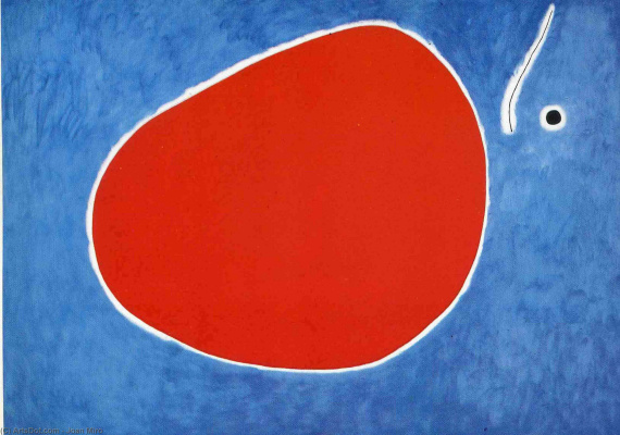 Joan Miro. Flight of the dragonfly in front of the sun