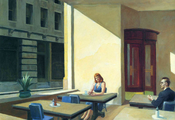 Edward Hopper. The sun in the cafeteria