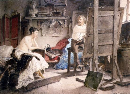 Петр Петрович Соколов. В мастерской художника (Художник и модель) . 1872