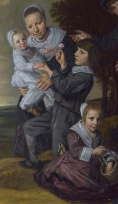 Франс Хальс. Пейзаж с семьей. Фрагмент 4. Нянька с детьми