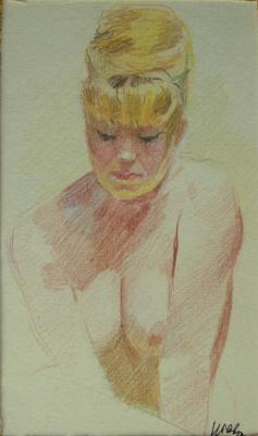 "Нина Ивановна Гаврилова. ""Сидящая модель №9"", 1960-е гг.,бум./цв. карандаш, 15х8,5"