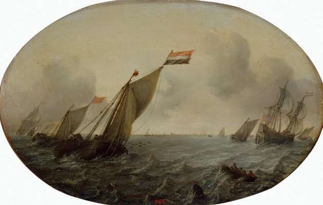 Симон де Влигер. Корабли в ветреную погоду