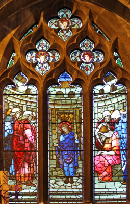 Уильям Моррис. Ранние годы Христа. Иисус в храме. Витражное окно северной галереи Всех Святых