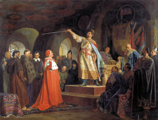 Nikolai Vasilyevich Nevrev. Roman Galitsky receives ambassadors of Pope Innocent III. 1875