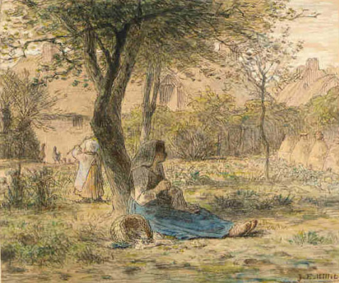 Jean-François Millet. In the garden