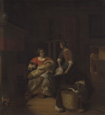 Pieter de Hooch. The woman with the baby and the maid