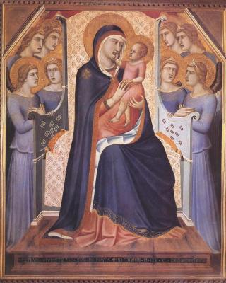 Pietro Lorenzetti. Madonna enthroned with angels