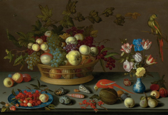 Baltazar van der Ast. Still life with fruit on a plate and in a basket, a vase with flowers and two parrots