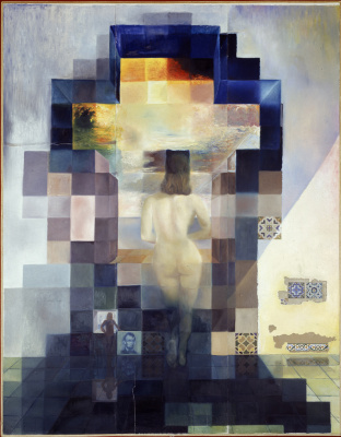 Salvador Dali. Gala Nude looking at the sea which at a distance of 18 metres in transformirovalsya portrait of Abraham Lincoln
