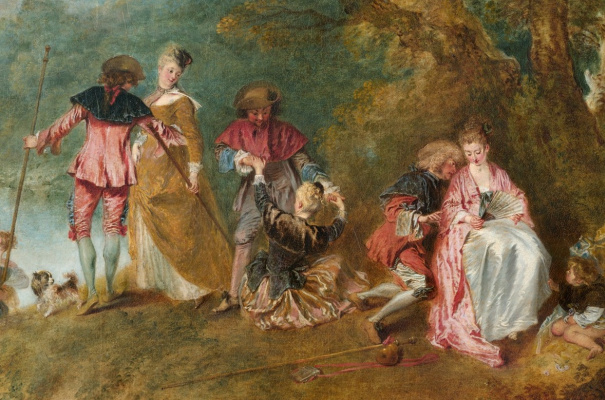Antoine Watteau. Pilgrimage to the island of Kythira (the first option). Fragment