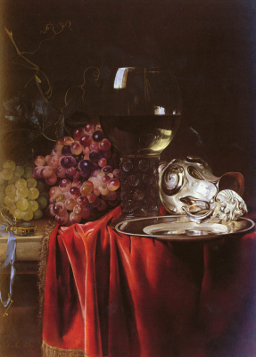 Willem van Aelst. Still life with grapes, a clock, a silver pitcher and a glass