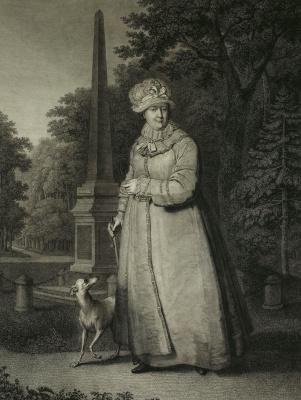 Nikolai Ivanovich Utkin. Empress Catherine II strolling in the Park of Tsarskoye Selo