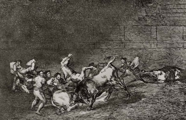 "Francisco Goya. A series of ""Tauromachia"", page 32: the Bull throws one after the other, two groups of picador"