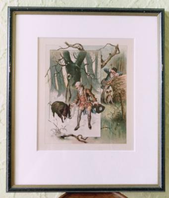 Unknown artist. Munchausen on the hunt