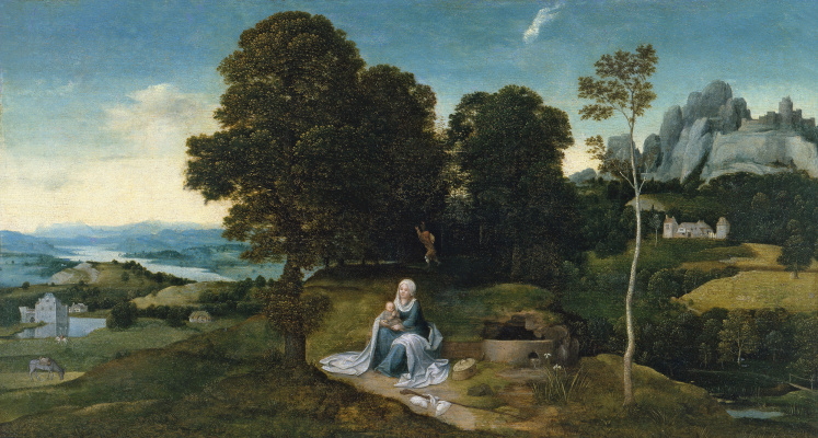Joachim Patinir. Landscape with the rest on the flight into Egypt