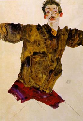 Эгон Шиле. Автопортрет с расставленными руками