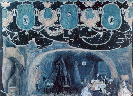 "Alexander Yakovlevich Golovin. Sketch of scenery for the play by J. D. Belyaev ""Red tavern"""