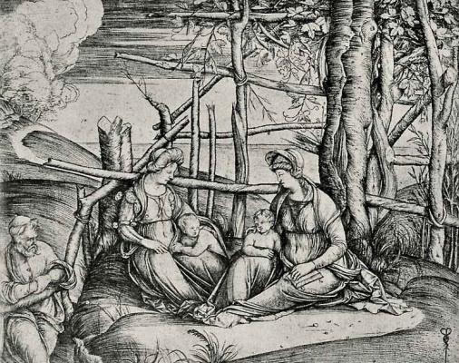 Jacopo de Barbary. Holy family with Saint Elizabeth and Saint giovannino
