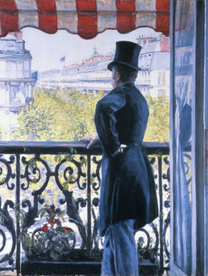 Man on balcony, Boulevard Haussmann