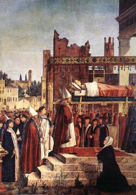 Витторе Карпаччо. Мученичество паломников и похороны Св. Урсулы, фрагмент