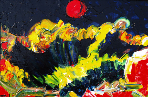 Kandinsky-DAE. The time of the red moon. Oil on canvas, 40-60,2008. (Expressive sublimatism.)