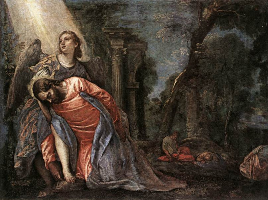 Paolo Veronese. Christ in the garden supported angel