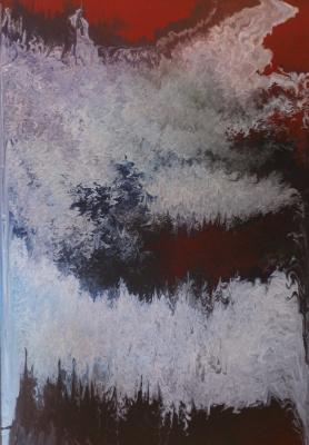 "Alla Struchayeva. Painting ""Space Storm"""
