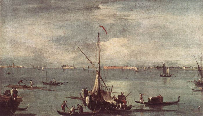 Francesco Guardi. Lagoon with boats and rafts