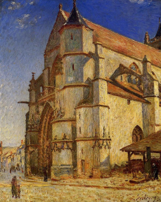 Alfred Sisley. The Church at Moret in the morning sun