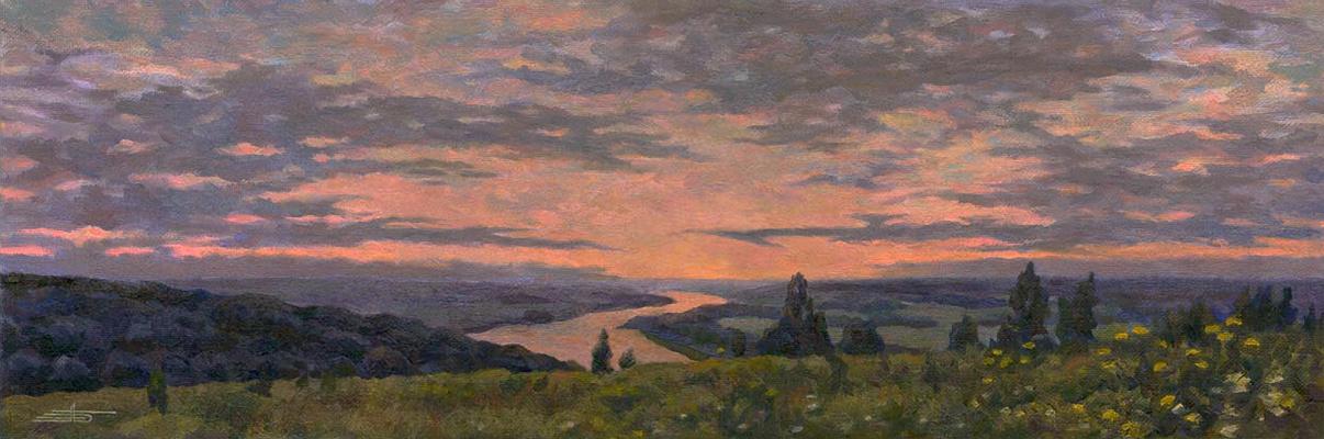 Andrei Ivanovich Borisov. Oka. Sunset.