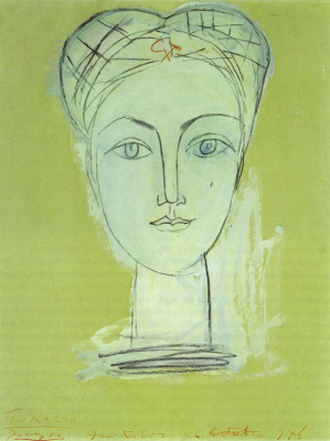 Pablo Picasso. Portrait of Francoise, with the hammer and sickle