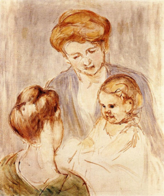Mary Cassatt. A baby smiling at two young women