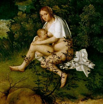 Giorgione. Storm (Thunderstorm). Fragment